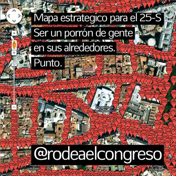 Uno de las imagenes con las que se difundió la convocatoria del Rodea el Congreso del 25 de septiembre de 2012